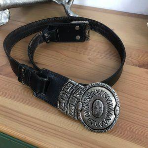 Omega Western Leather Buckle Hook Belt Black